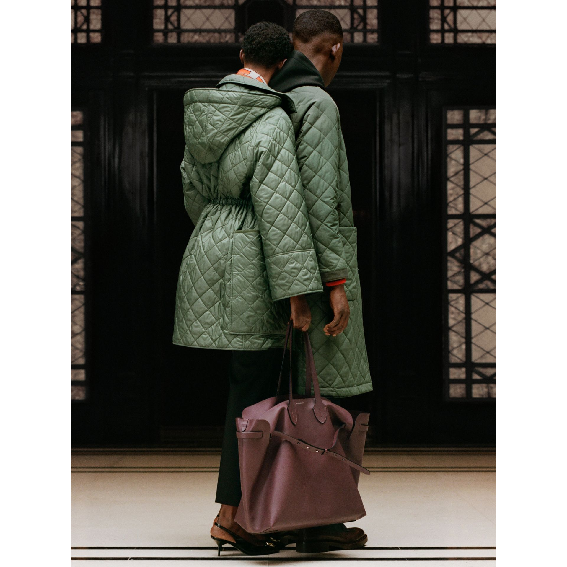 Lightweight Diamond Quilted Hooded Coat in Cadet Green - Women | Burberry Canada - gallery image 5