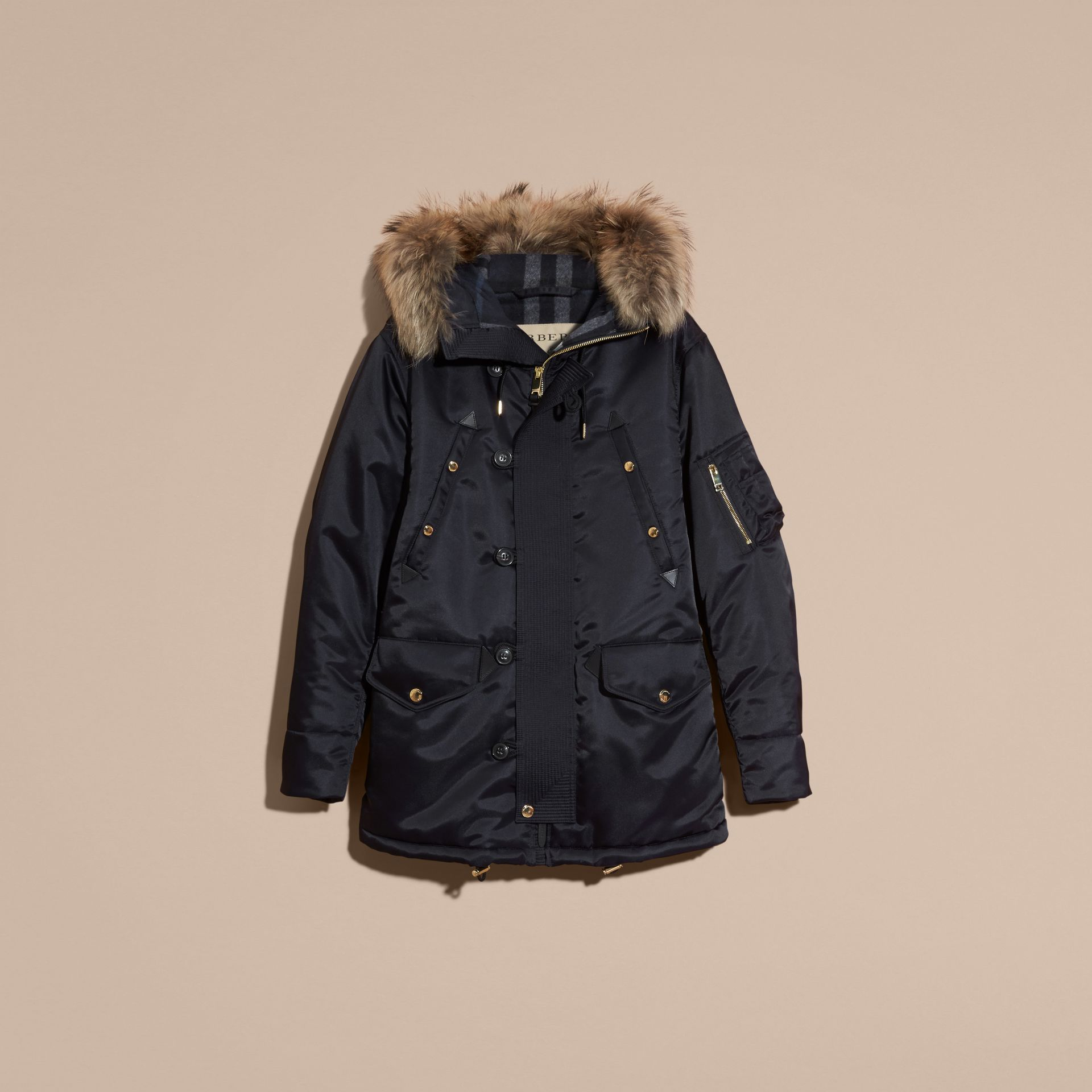Navy Hooded Parka with Detachable Raccoon Trim - gallery image 4