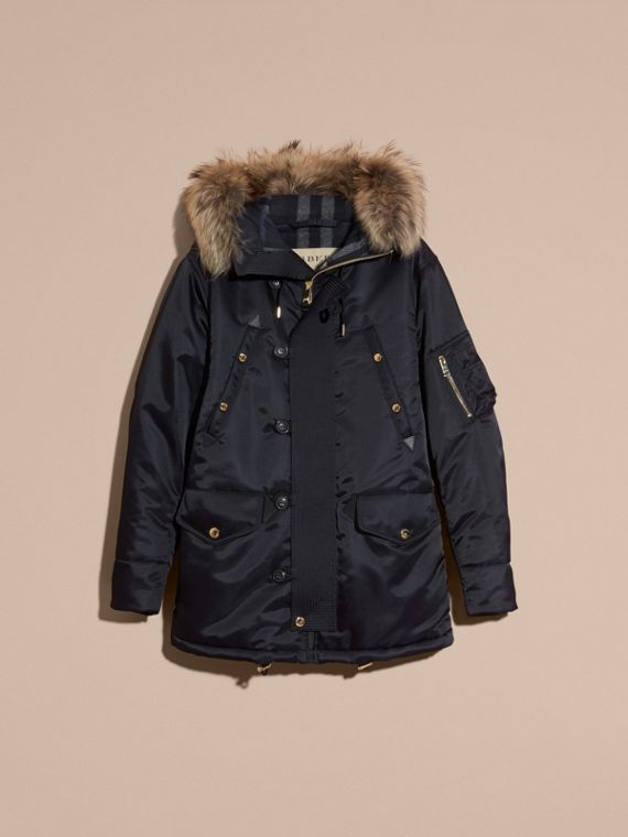 Navy Hooded Parka with Detachable Raccoon Trim - cell image 3