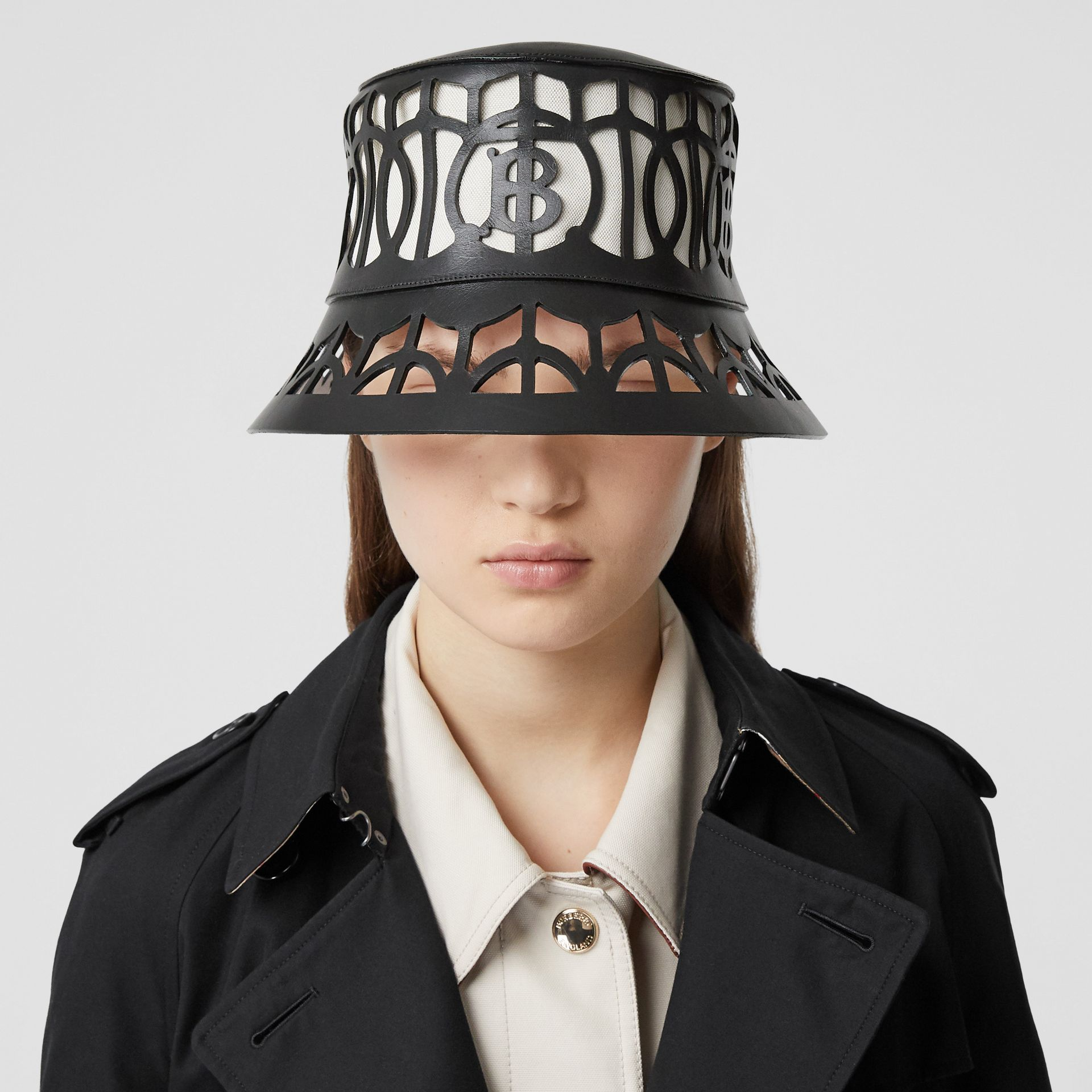 Monogram Motif Cut-out Leather Bucket Hat in Black   Burberry United Kingdom - gallery image 2