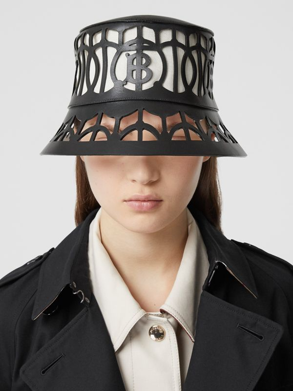 Monogram Motif Cut-out Leather Bucket Hat in Black   Burberry United Kingdom - cell image 2