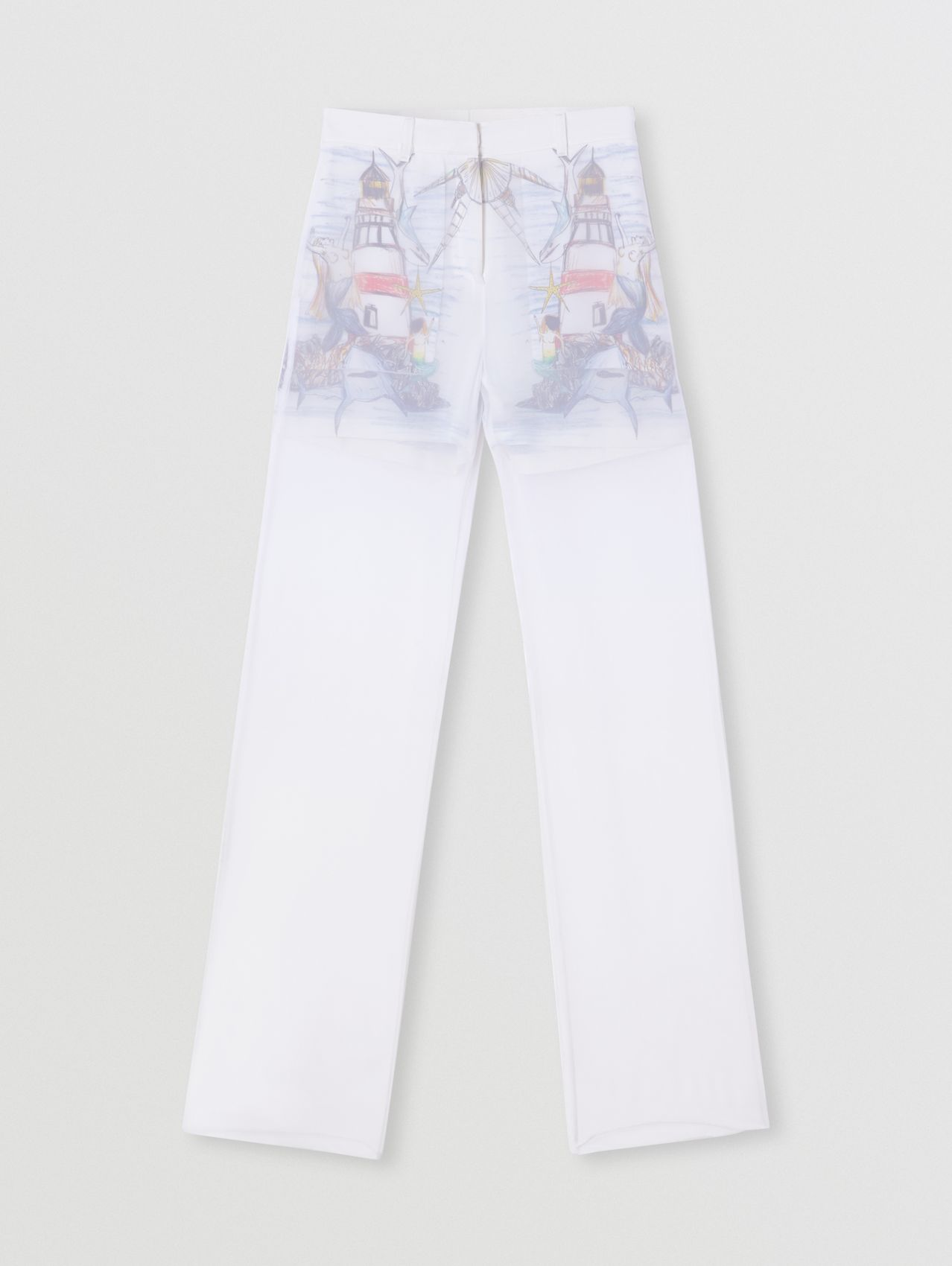Chiffon Overlay Marine Sketch Print Silk Shorts in Optic White