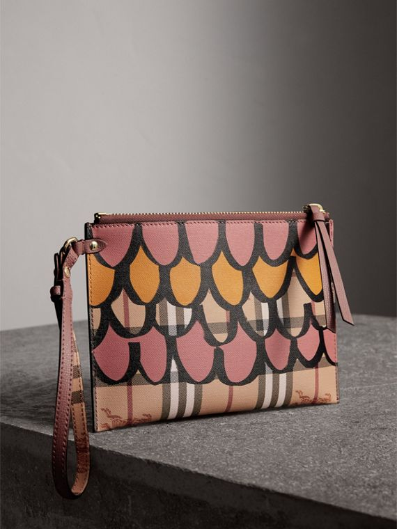 Trompe L'oeil Haymarket Check and Leather Pouch in Dusty Pink - Women | Burberry - cell image 3