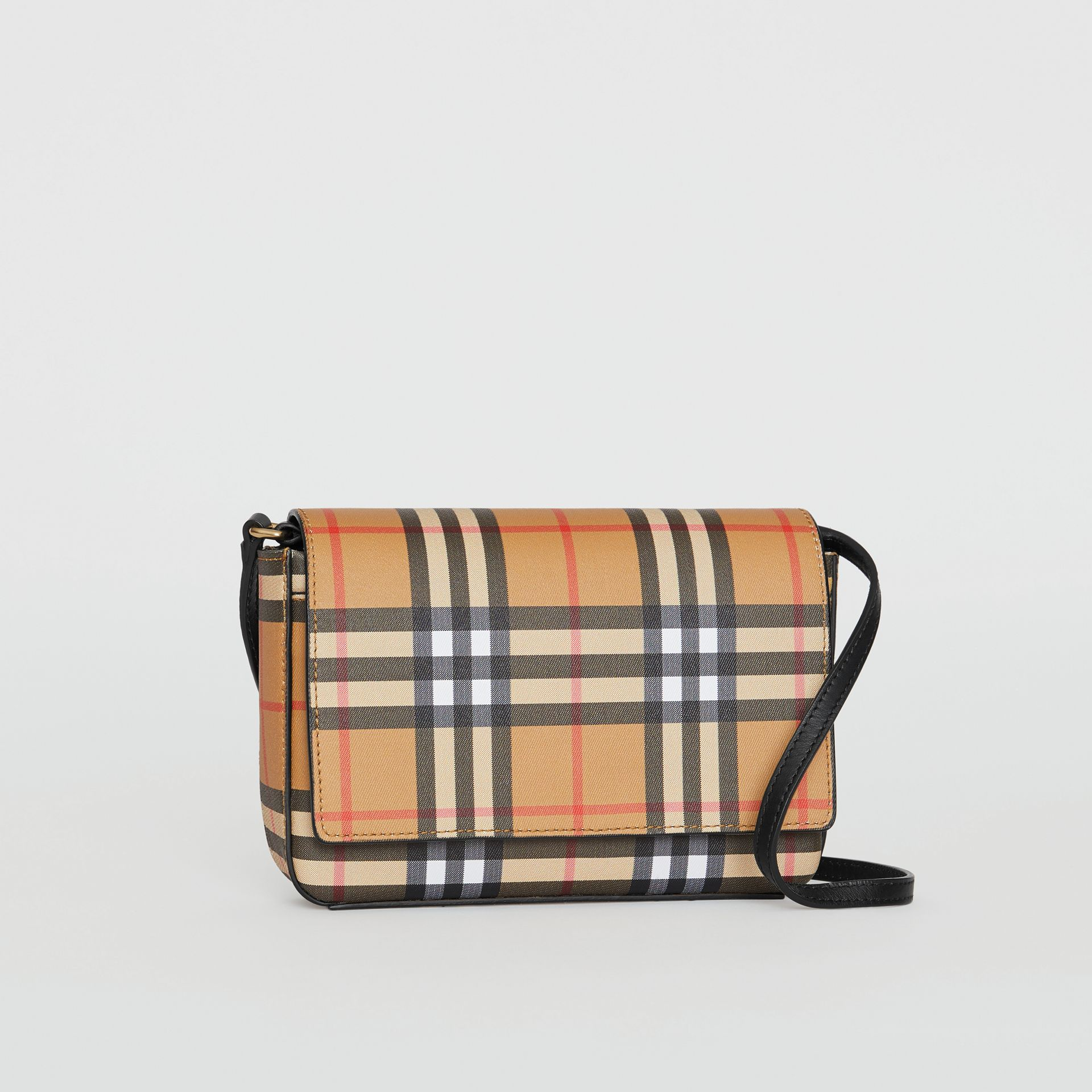 Vintage Check and Leather Wallet with Detachable Strap in Black - Women | Burberry Australia - gallery image 4