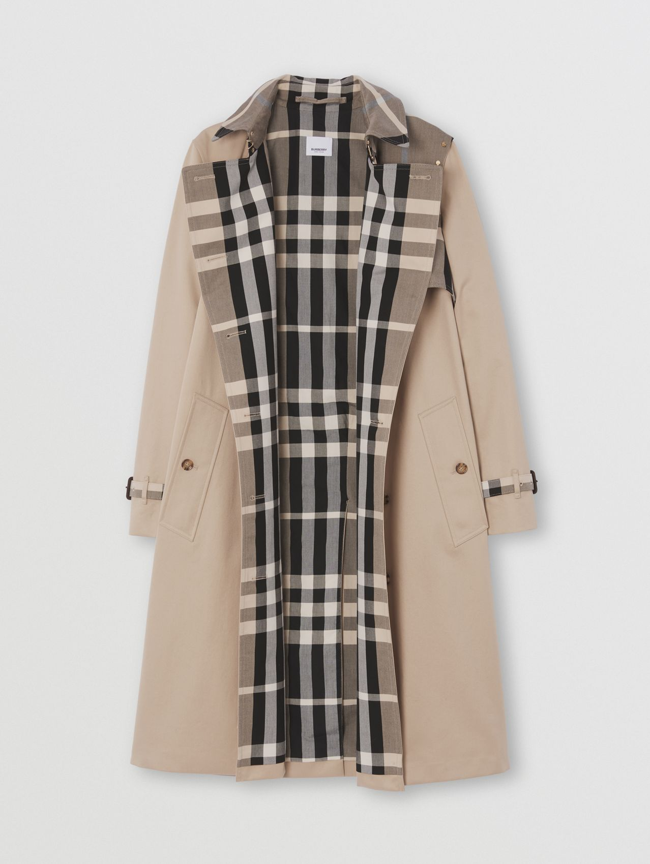 Check Panel Cotton Gabardine Trench Coat in Soft Fawn