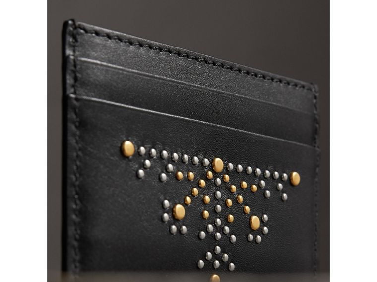 Riveted Leather Card Case in Black - Men | Burberry Singapore - cell image 1