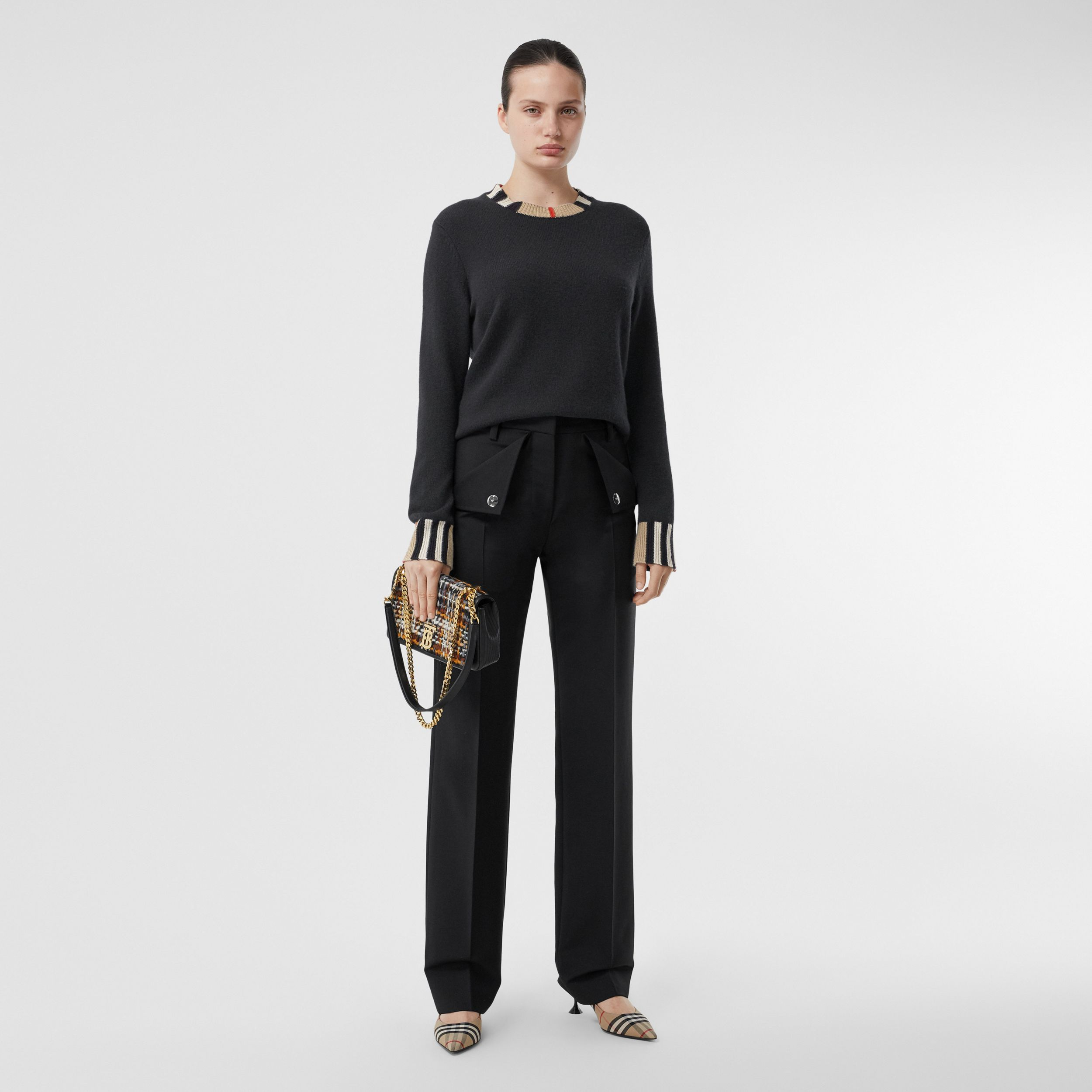 Icon Stripe Trim Cashmere Sweater in Black - Women | Burberry - 1