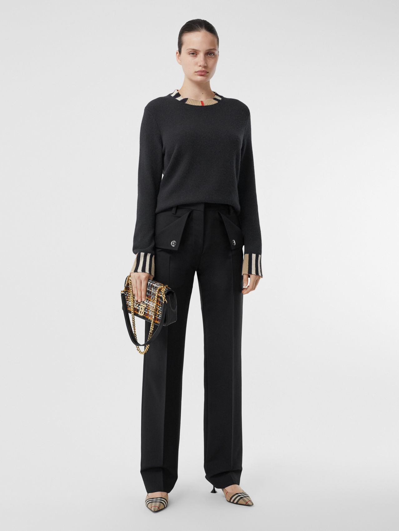 Icon Stripe Trim Cashmere Sweater (Black)