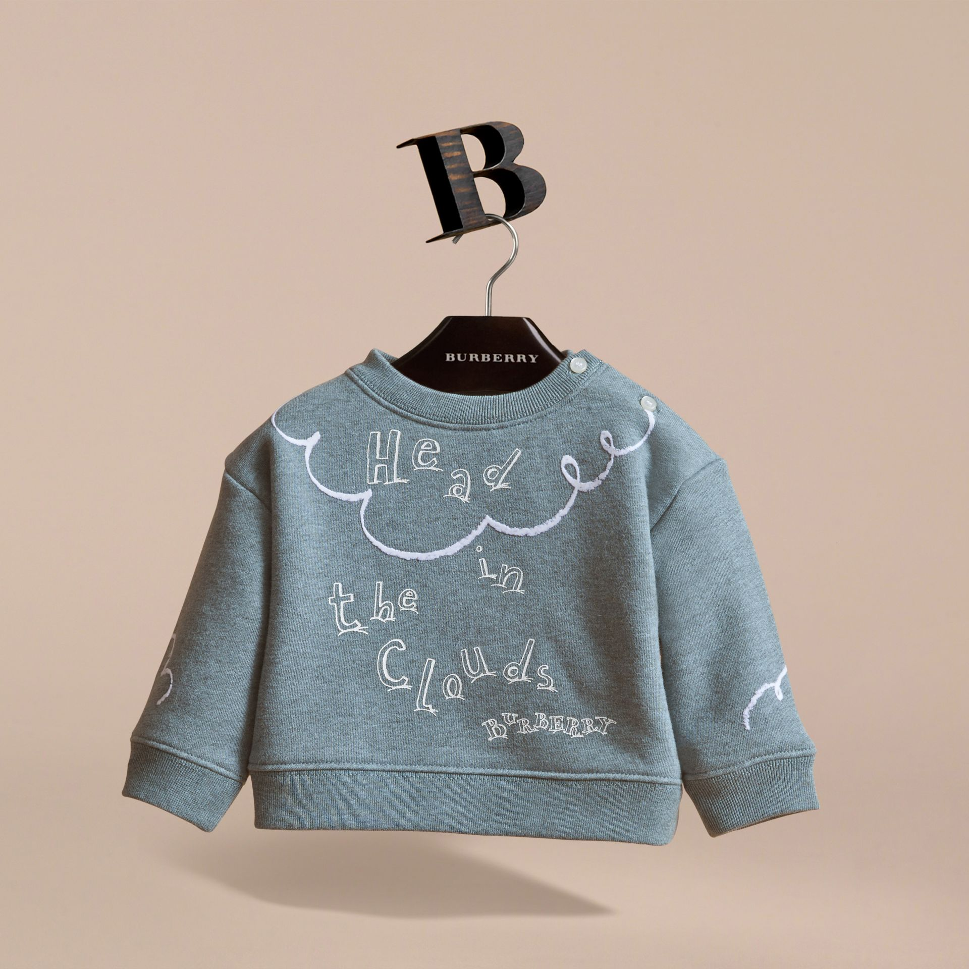 Head in the Clouds Print Cotton Sweatshirt in Powder Blue | Burberry - gallery image 2