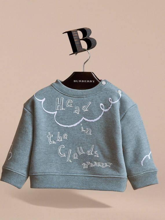 Head in the Clouds Print Cotton Sweatshirt in Powder Blue | Burberry - cell image 2