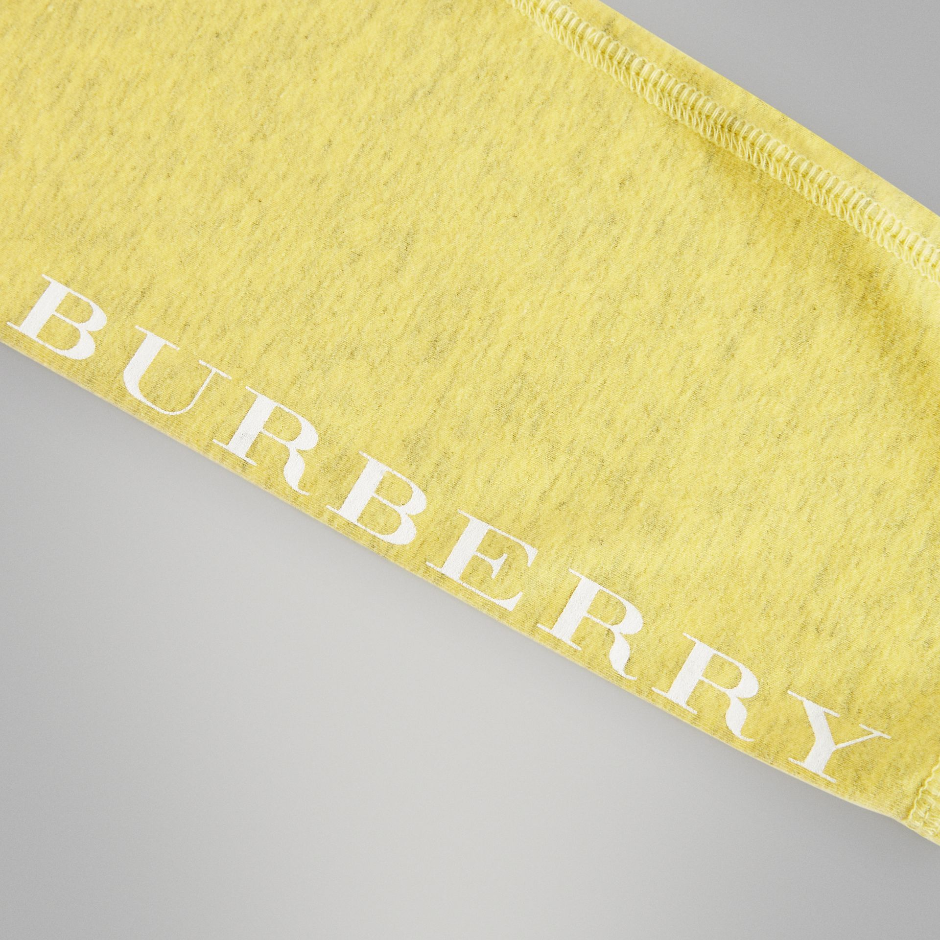 Logo Print Stretch Cotton Leggings in Citrus Yellow | Burberry - gallery image 1