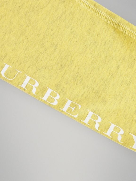 Logo Print Stretch Cotton Leggings in Citrus Yellow | Burberry - cell image 1