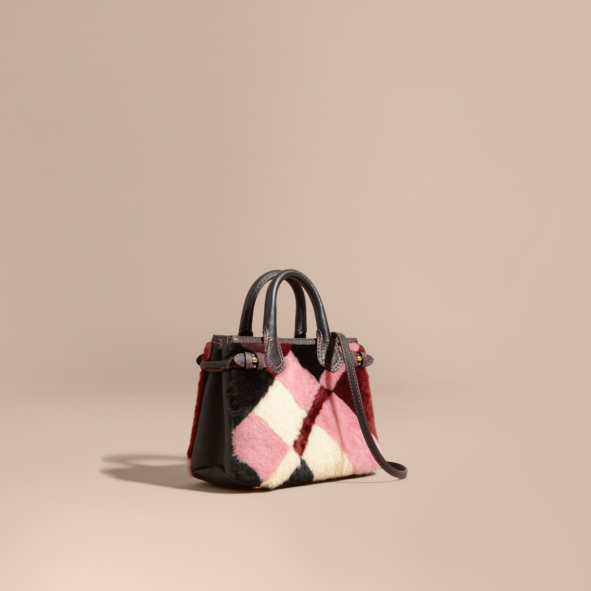 Pink The Baby Banner in Patchwork Check Shearling and Leather - gallery image 1