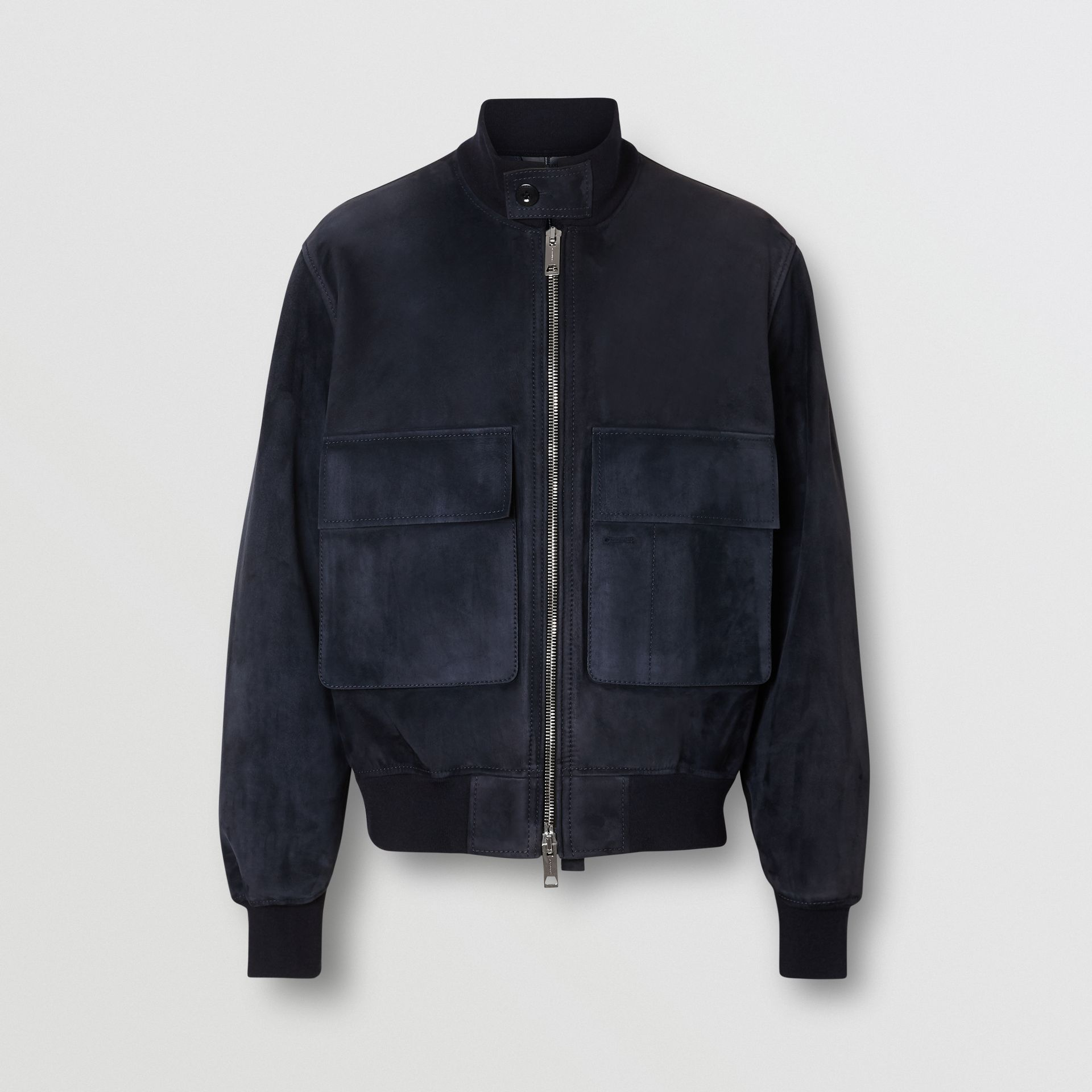 Bonded Suede Bomber Jacket in Navy/dark Brown - Men | Burberry - gallery image 3