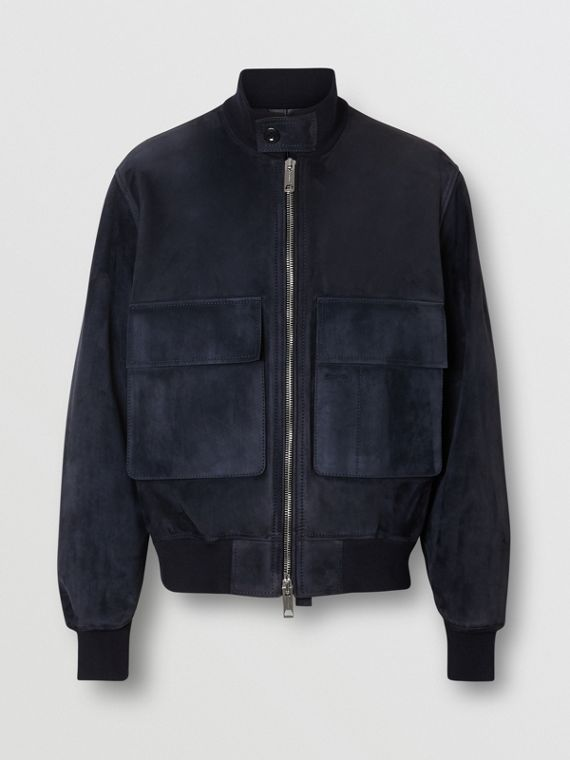 Bonded Suede Bomber Jacket in Navy/dark Brown