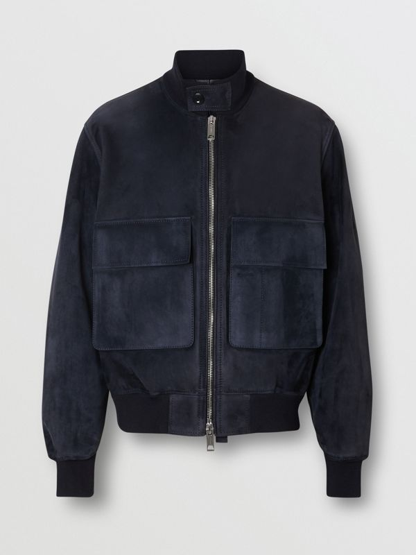 Bonded Suede Bomber Jacket in Navy/dark Brown - Men | Burberry - cell image 3