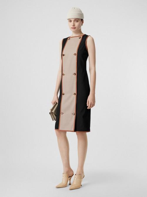 Burberry Dresses Button Panel Detail Stretch Wool Shift Dress