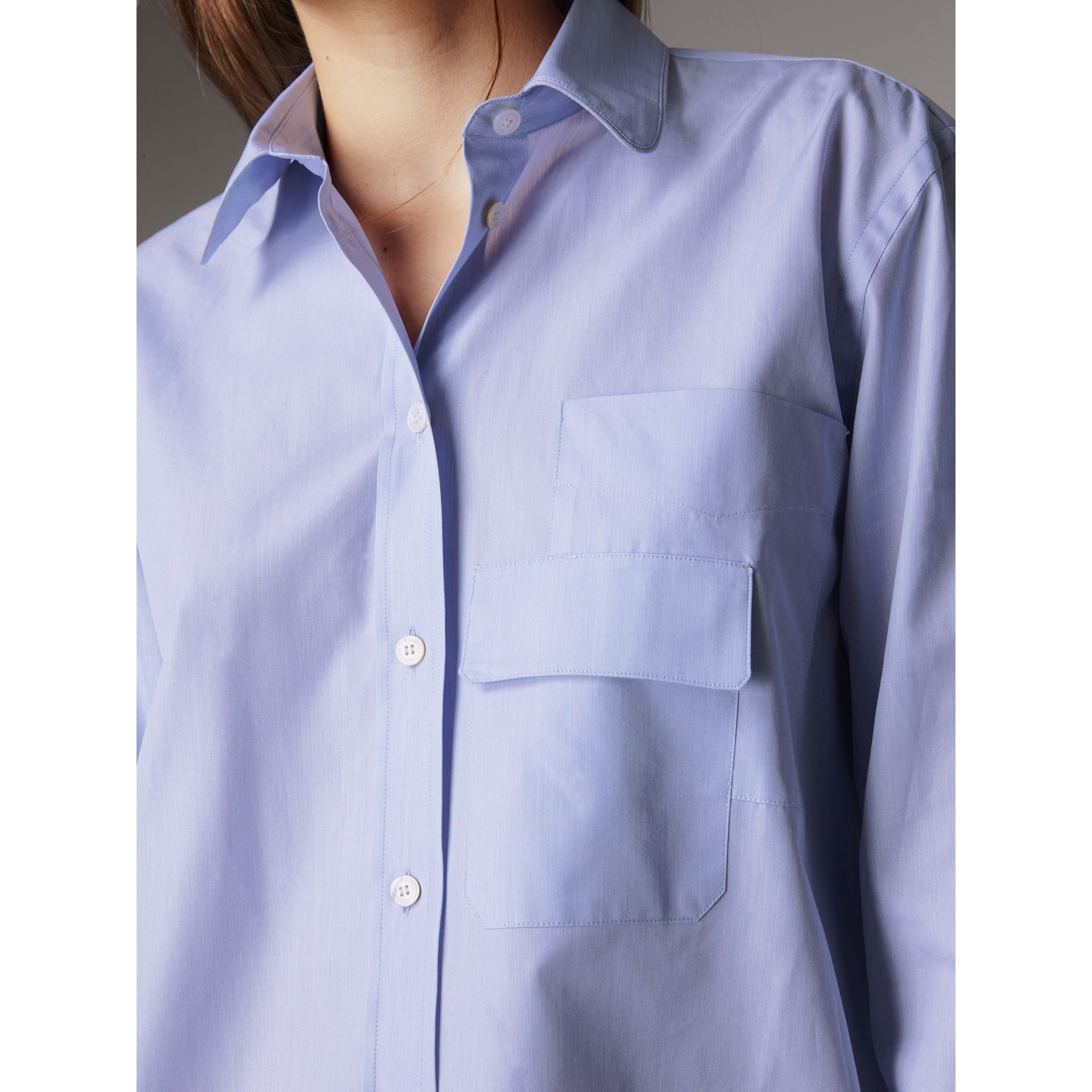 Double Pocket Cotton Oversize Shirt in Pale Blue - Women | Burberry - gallery image 2