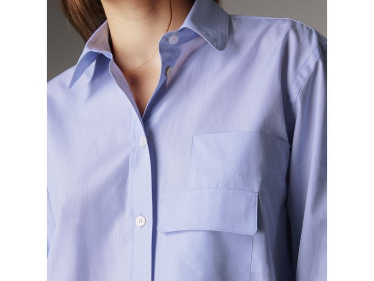Double Pocket Cotton Oversize Shirt in Pale Blue - Women | Burberry - cell image 1