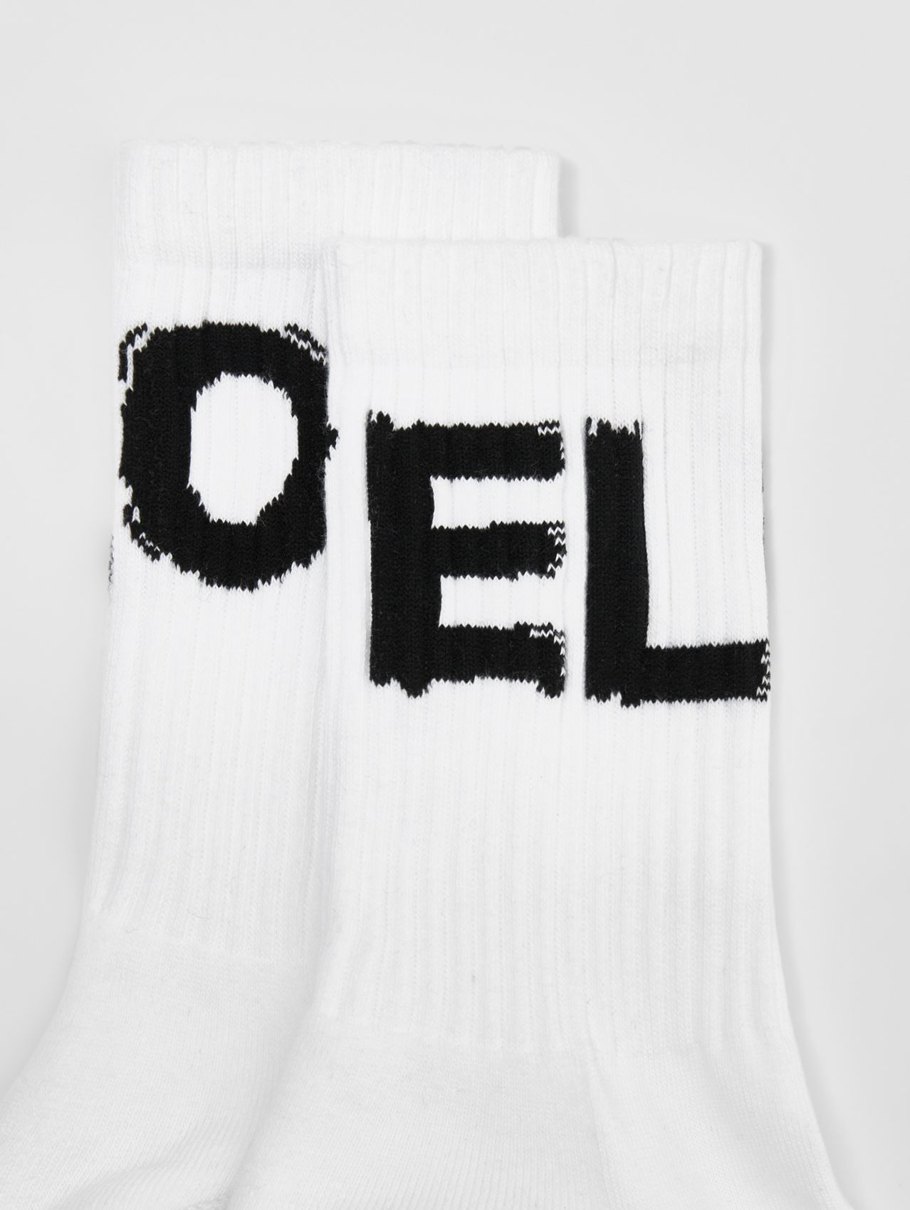 Love Intarsia Technical Stretch Cotton Socks in White