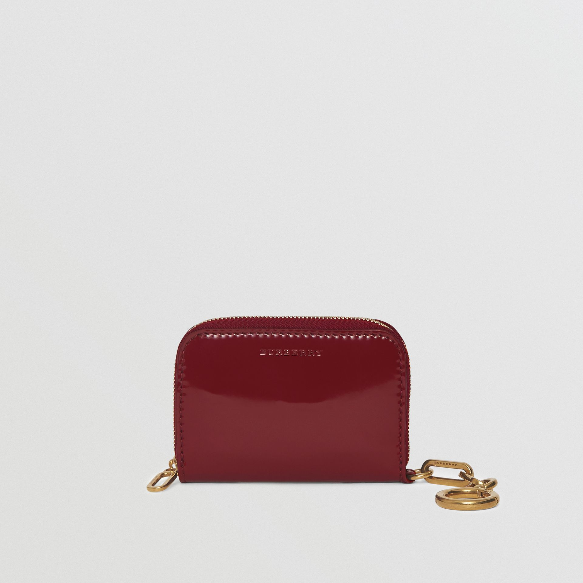 Link Detail Patent Leather Ziparound Wallet in Crimson - Women | Burberry - gallery image 0