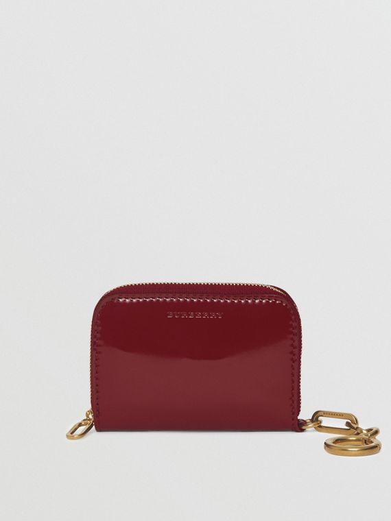 Link Detail Patent Leather Ziparound Wallet in Crimson
