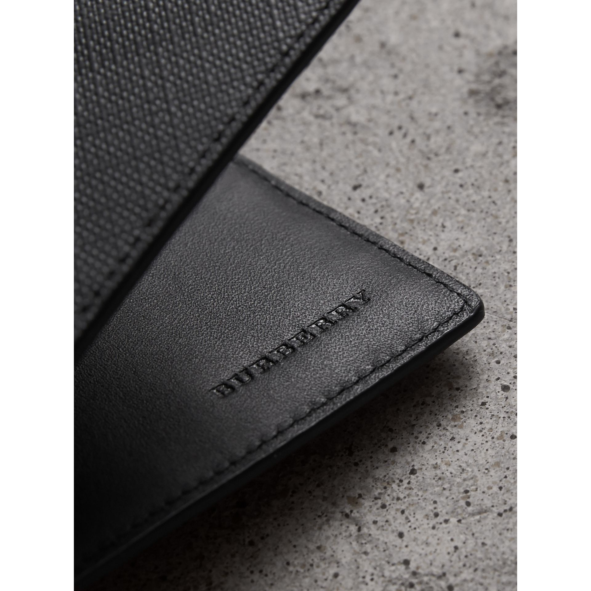 London Check Folding Wallet in Charcoal/black - Men | Burberry Singapore - gallery image 1
