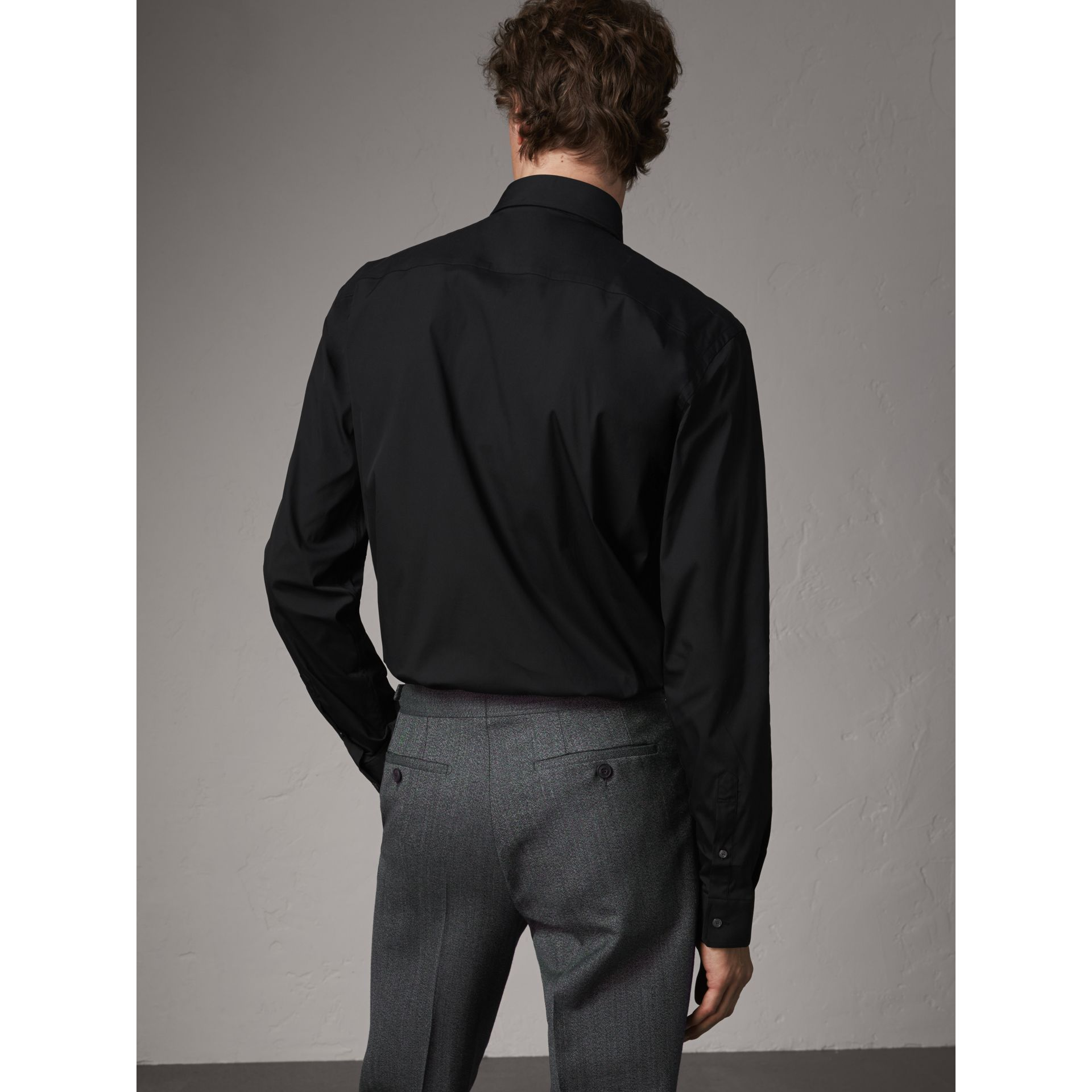 Modern Fit Stretch Cotton Shirt in Black - Men | Burberry Singapore - gallery image 3