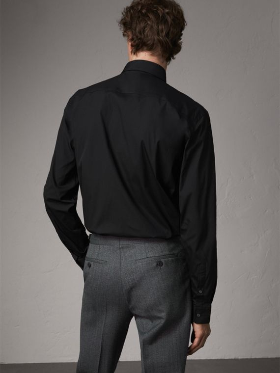 Modern Fit Stretch Cotton Shirt in Black - Men | Burberry Singapore - cell image 2