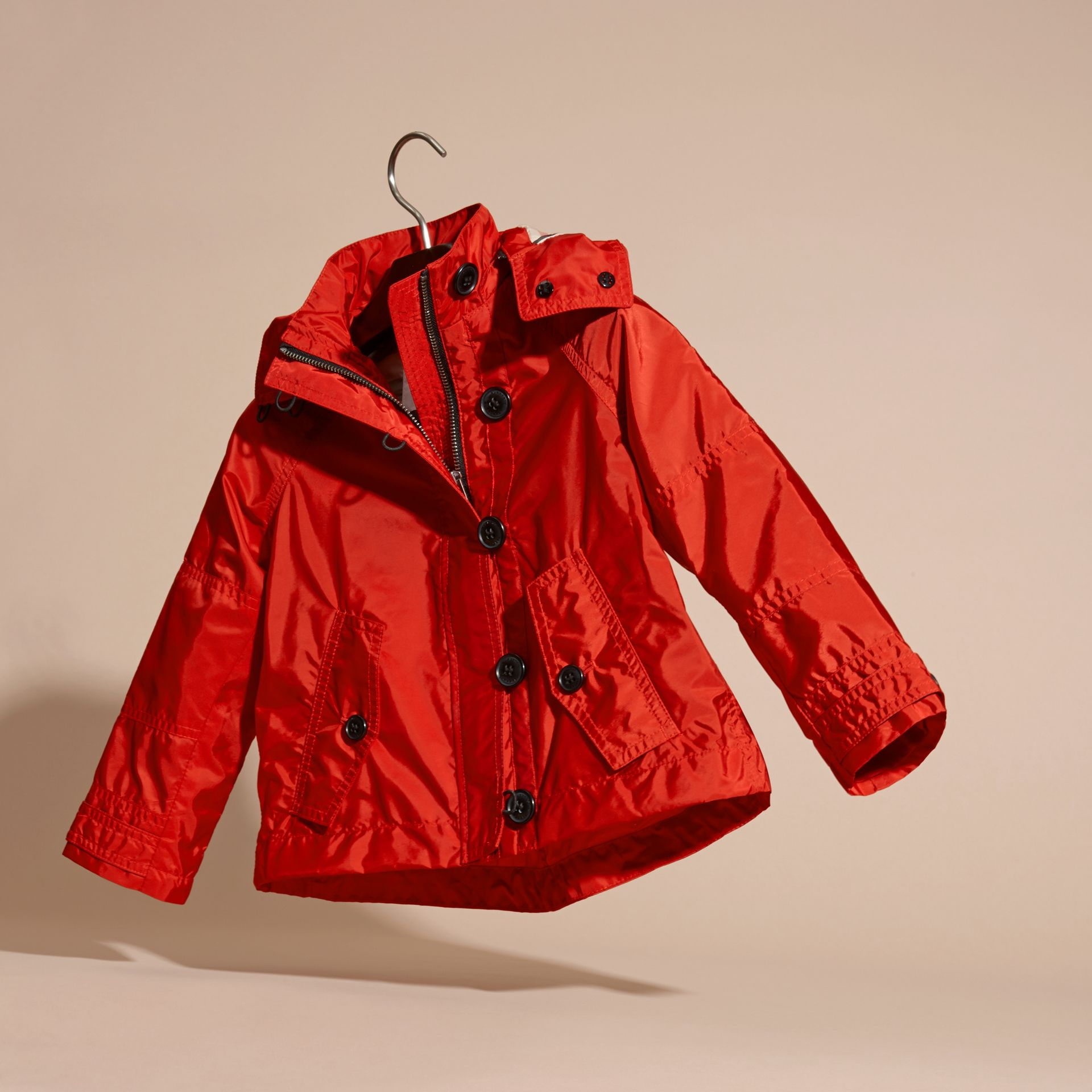 Military red Technical Jacket with Hood - gallery image 3