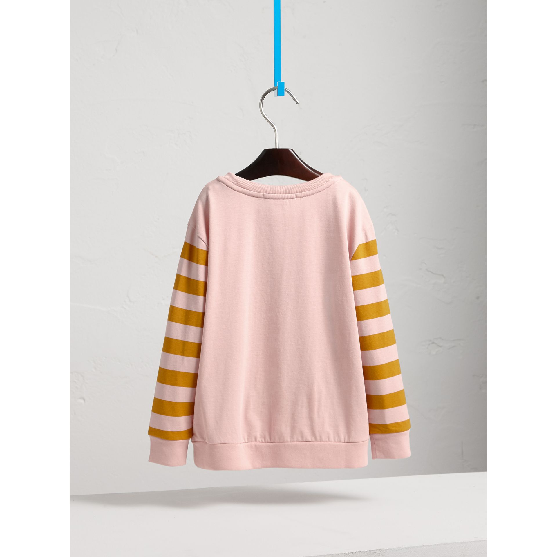 London Icons Print Cotton Long-sleeved Top in Chalk Pink - Girl | Burberry Canada - gallery image 4