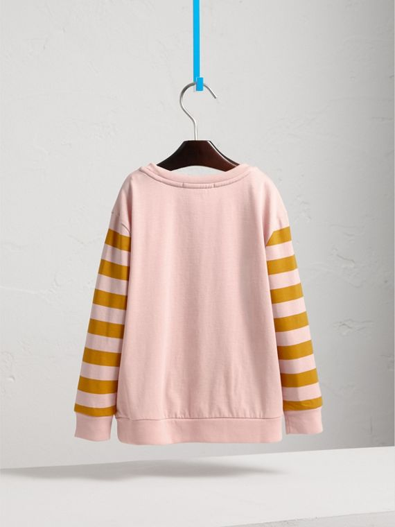 London Icons Print Cotton Long-sleeved Top in Chalk Pink - Girl | Burberry - cell image 3
