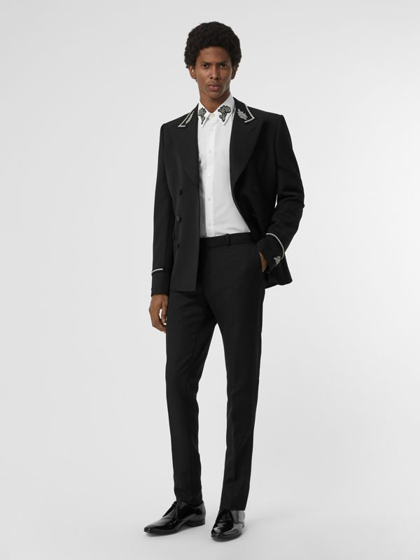 Slim Fit Bullion Floral Cotton Poplin Dress Shirt in White - Men | Burberry Canada - cell image 3