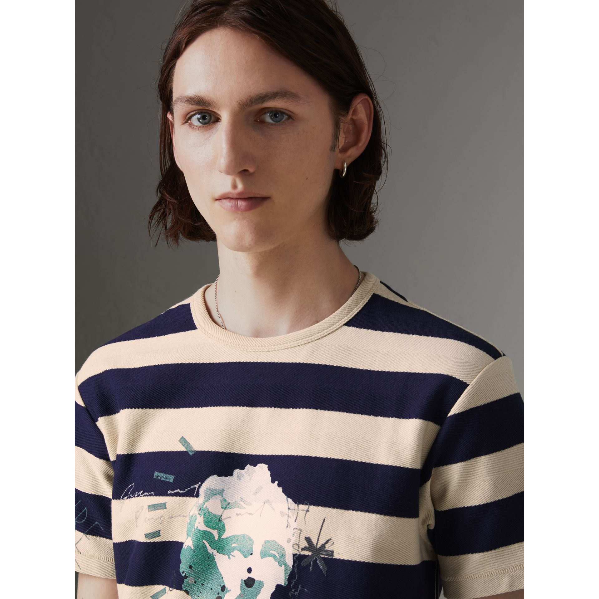 Bust Print Striped Cotton T-shirt in Off White/navy - Men | Burberry - gallery image 1