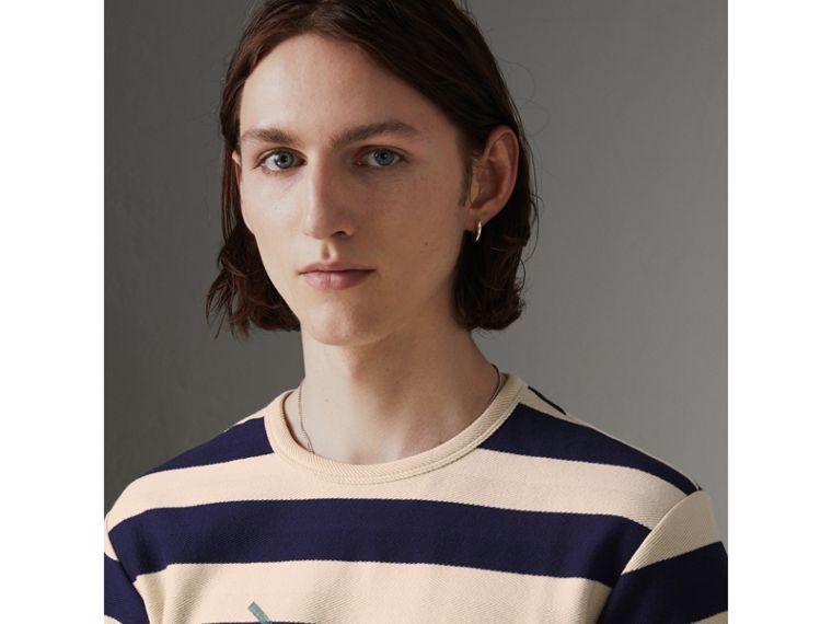 Bust Print Striped Cotton T-shirt in Off White/navy - Men | Burberry - cell image 1