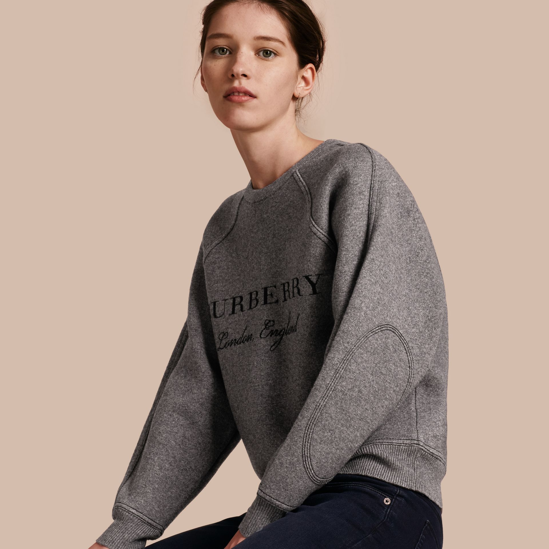 Topstitch Detail Wool Cashmere Blend Sweater in Mid Grey Melange - Women | Burberry - gallery image 1