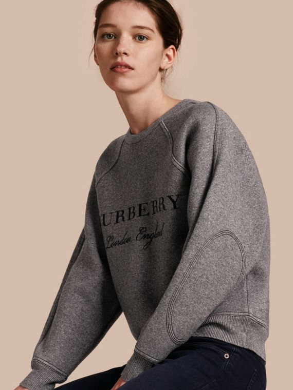 Topstitch Detail Wool Cashmere Blend Sweater in Mid Grey Melange - Women | Burberry Australia