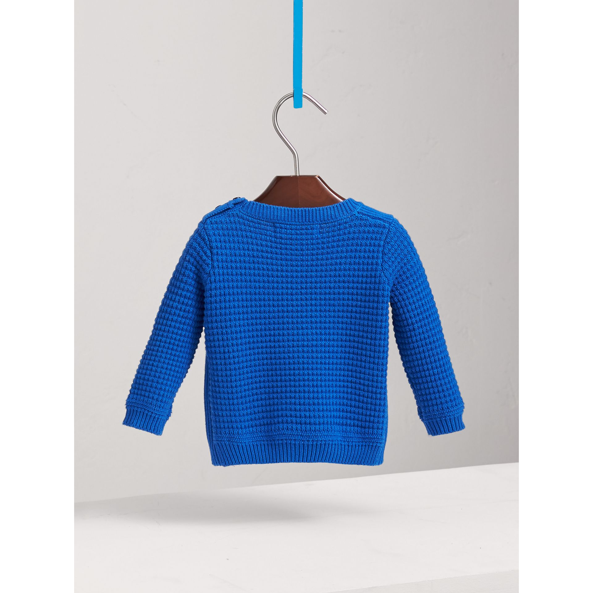 Waffle Knit Cotton Sweater in Cobalt Blue | Burberry - gallery image 3