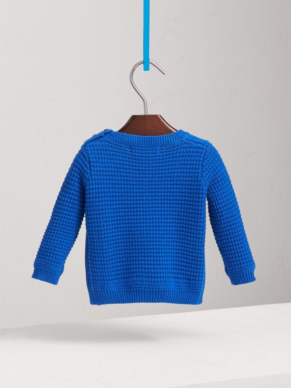 Waffle Knit Cotton Sweater in Cobalt Blue | Burberry - cell image 3