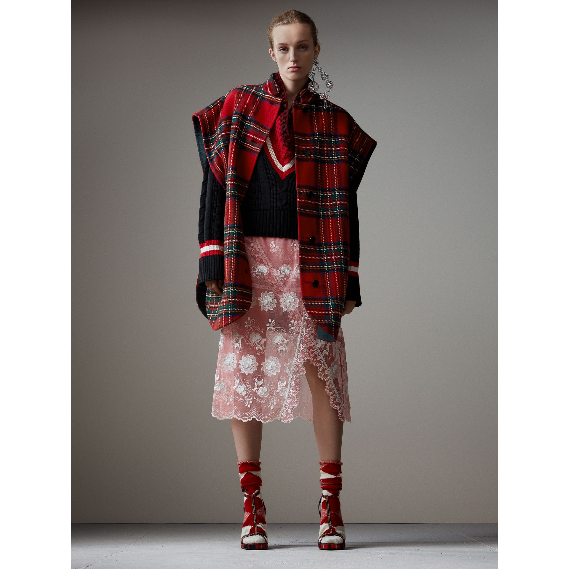 Reversible Tartan Wool Cashmere Poncho in Bright Red/dark Grey - Women | Burberry - gallery image 0