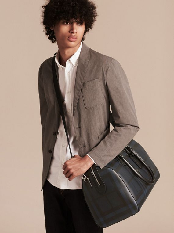 Leather Trim London Check Holdall in Navy/black - cell image 3