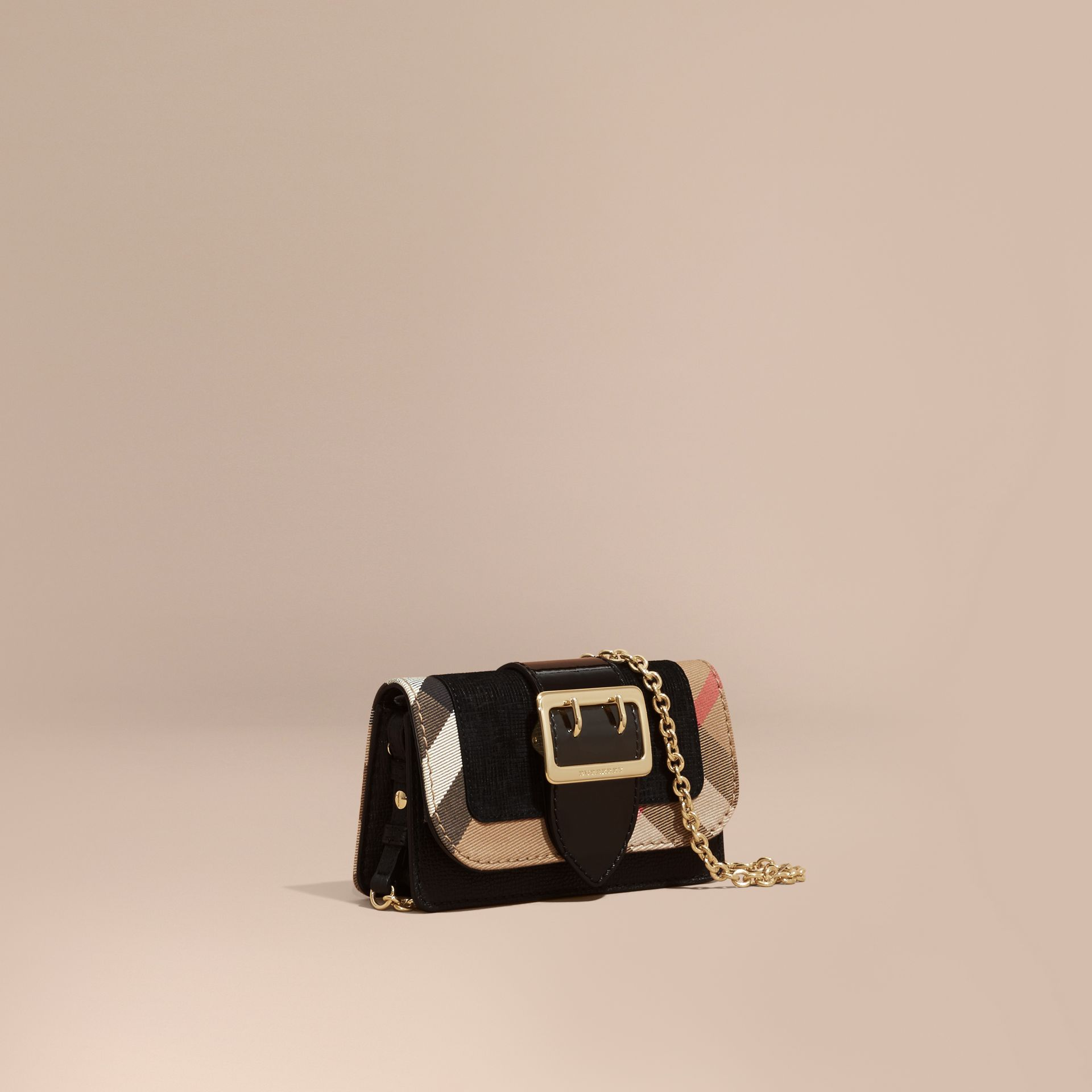 The Mini Buckle Bag in Leather and House Check in Black - Women | Burberry Australia - gallery image 1