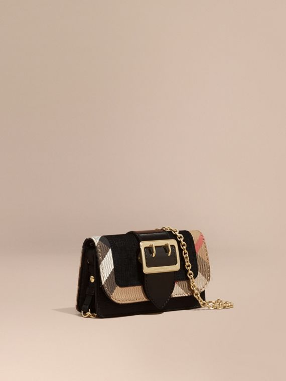 Mini sac The Buckle en cuir et coton House check (Noir)