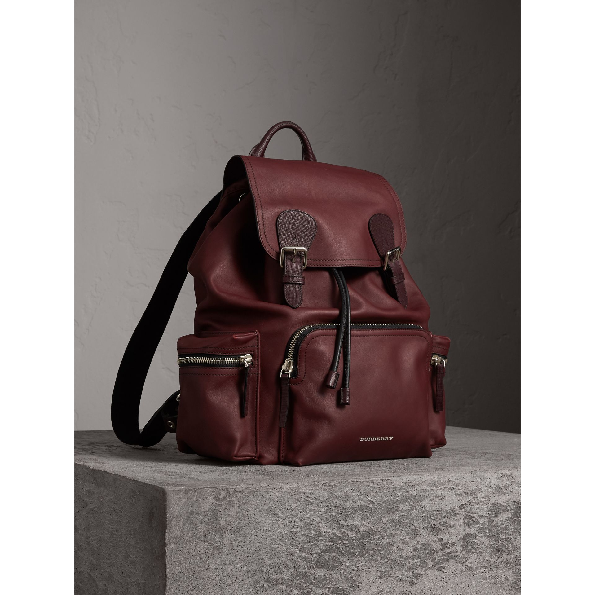 The Large Rucksack in Water-repellent Leather in Burgundy Red - Men | Burberry - gallery image 7