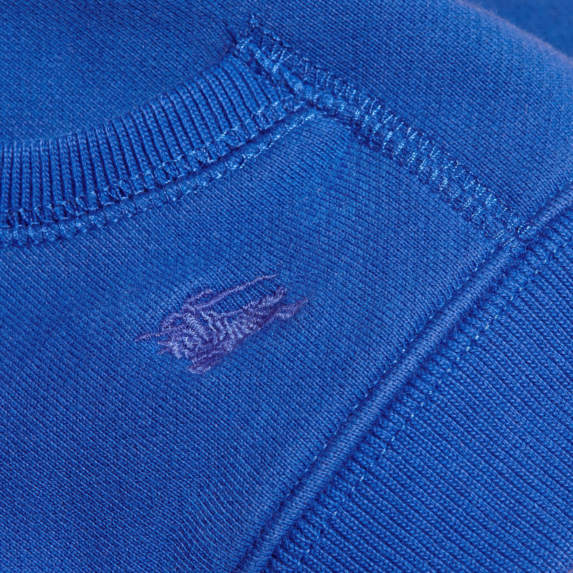 Brilliant blue Check Detail Hooded Cotton Top - gallery image 2