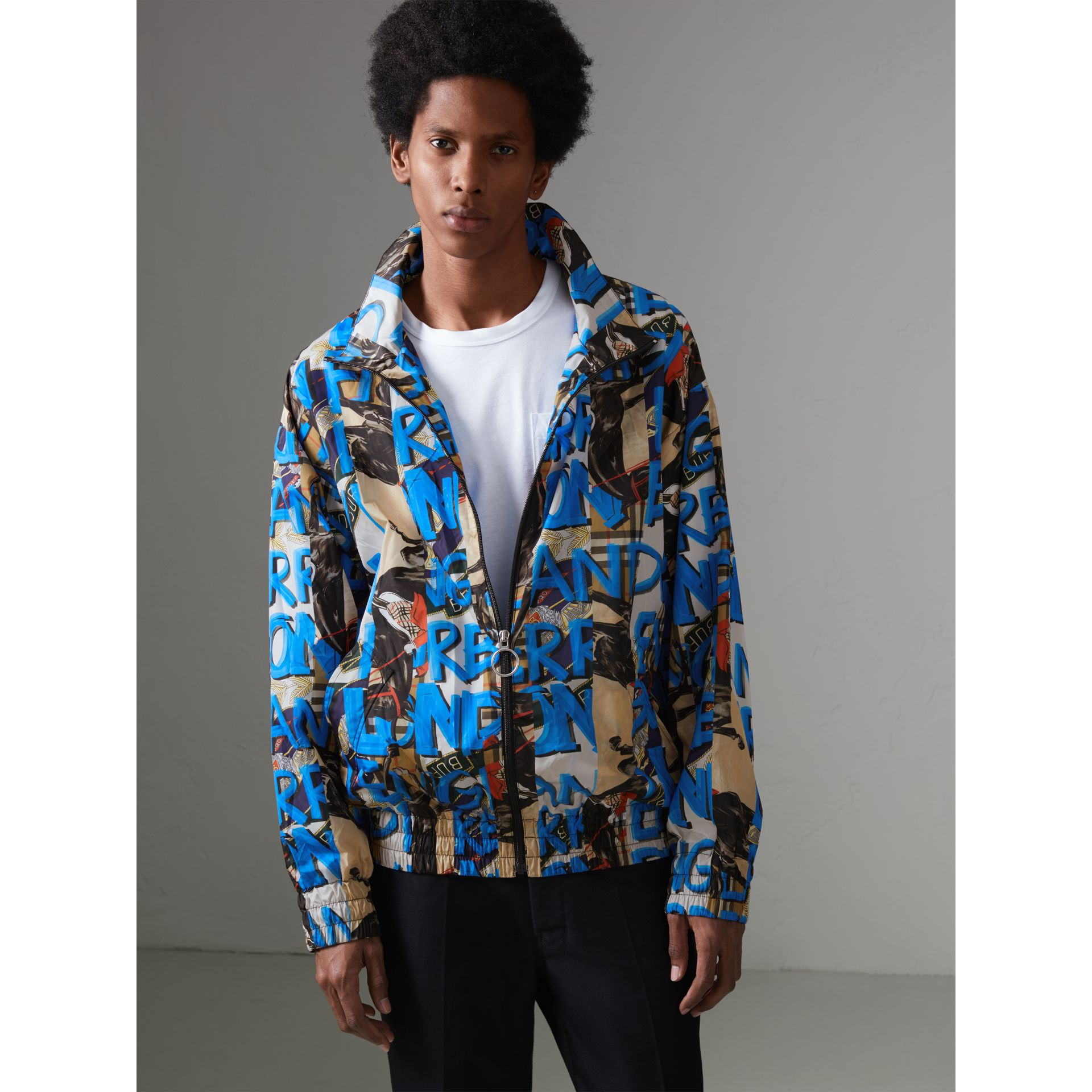 Graffiti Archive Scarf Print Shell Jacket in Antique Yellow - Men | Burberry - gallery image 6
