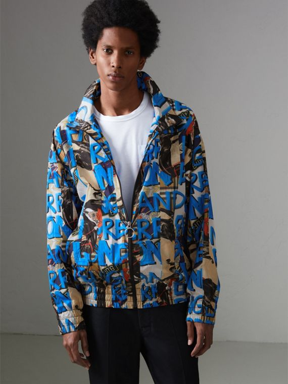 Graffiti Archive Scarf Print Shell Jacket in Antique Yellow