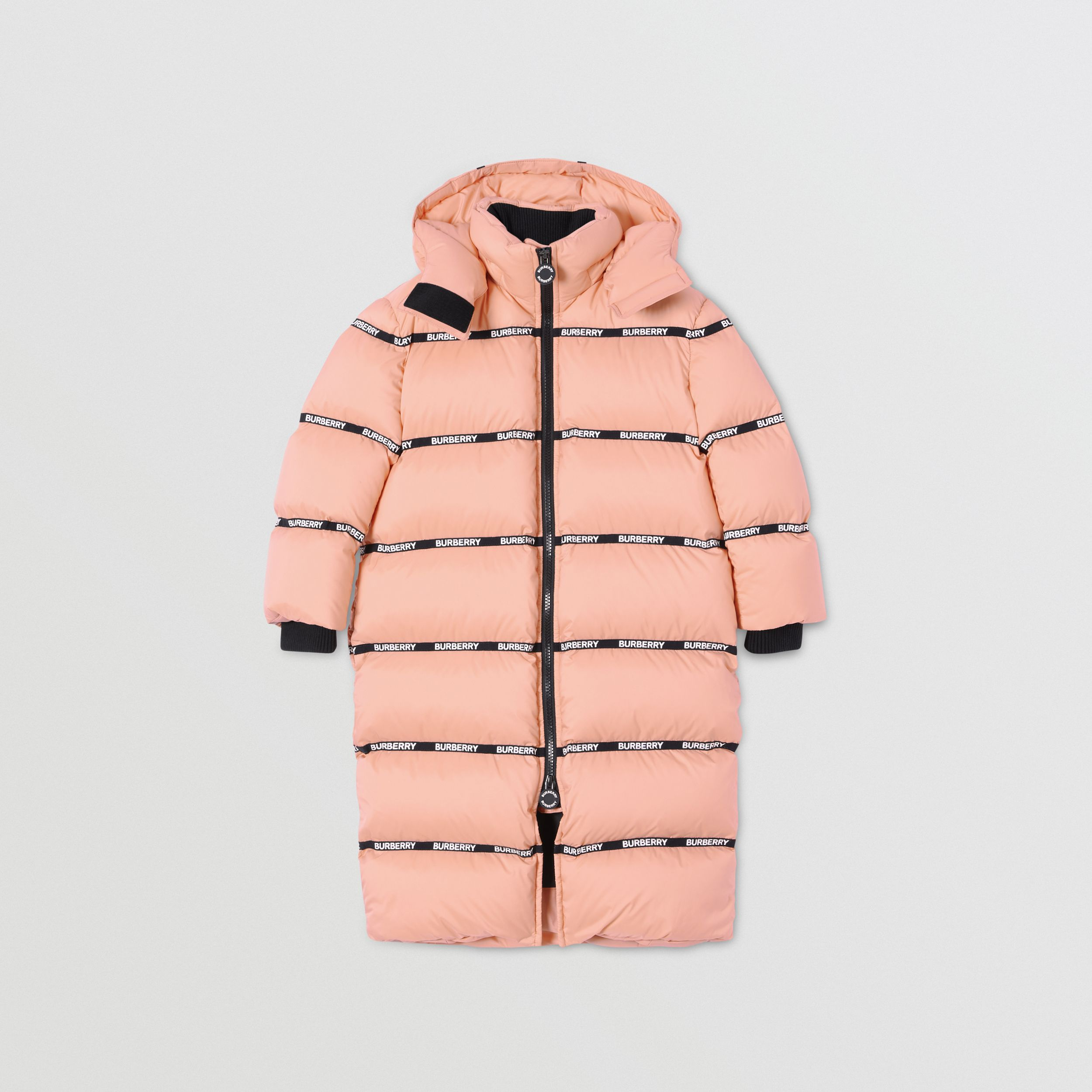 Detachable Hood Logo Tape Puffer Coat | Burberry Australia - 1