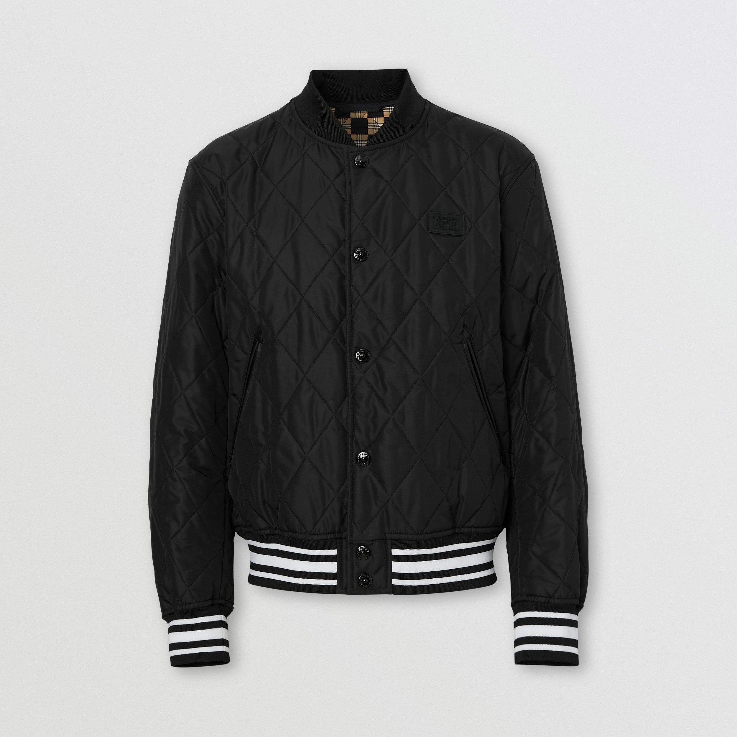 Logo Appliqué Diamond Quilted Nylon Canvas Jacket in Black - Men | Burberry Australia - 4