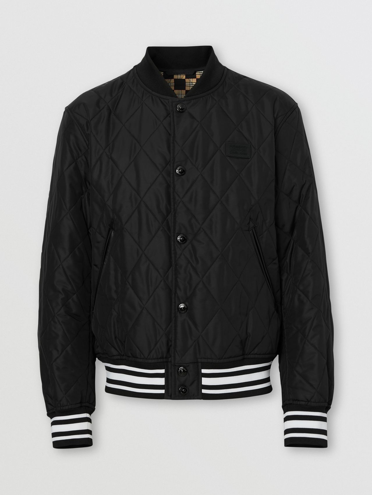 Logo Appliqué Diamond Quilted Nylon Canvas Jacket in Black